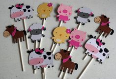 12 Girl Farm Animal Treat Bag Toppersbaby shower by AngiesDesignz, $15.00