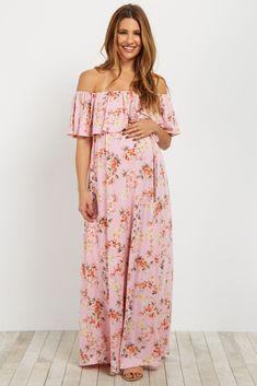 a3b5992e6d8f Light Pink Floral Off Shoulder Sash Tie Maternity Maxi Dress