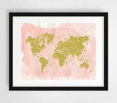 World map print gold print pink watercolor gold decor by Ikonolexi