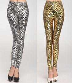 Fashion-Women-Metallic-Scales-Snake-Veins-Lizard-Skin-Leggings-Slim-Pants-New-US