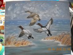 peinture à l'huile sur carton - réalisation Eliane