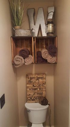 I did not want to simply put a traditional bathroom cabinet or shelves up, so my husband mounted these crates on the wall for me! Love the way it turned out! Crates On Wall, Crate Shelves, Crate Storage, Record Storage, Wooden Crates, Storage Baskets, Storage Ideas, Small Bathroom, Master Bathroom