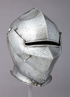 Milanese Armet, ca. 1475  This is a particularly good example of the fully developed form of Italian armet about fifty years after the style was created. It is stamped with marks used by the Missaglia workshop from 1452 to 1496.
