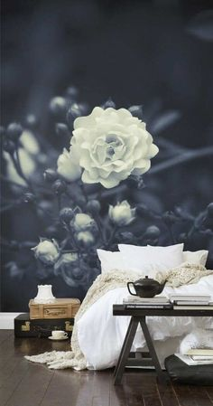 Sleep in the beauty of nature with this bedroom backdrop wallpaper
