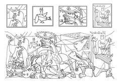 Picasso's Guernica (coloring page with details) Pablo Picasso, Picasso Guernica, Colouring Pages, Coloring Books, Teaching Drawing, Spanish Art, Arts Ed, Art Plastique, Oeuvre D'art