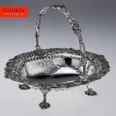 ANTIQUE 20thC EDWARDIAN GEORGE II STYLE SOLID SILVER LARGE BASKET, HUTTON c.1902
