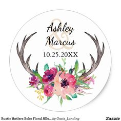 Rustic Antlers Boho Floral Allure Wedding Classic Round Sticker - With enchanting rustic boho style, this wedding sticker design features deer horns beautifully embellished with watercolor florals in rich purple, magenta and pink hues. Sold at Oasis_Landing on Zazzle.