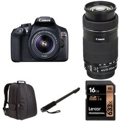 Canon EOS Rebel T6 Digital SLR with 18-55mm and 55-250mm Lenses, 16GB Memory Card, AmazonBasics DSLR Bag and AmazonBasics 67-inch Monopod * Be sure to check out this awesome product. (This is an Amazon Affiliate link and I receive a commission for the sales)