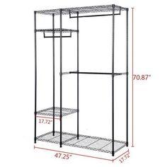 Garment rack portable wardrobe closet organizer clothes hanger home shelf