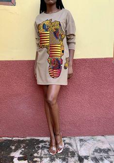 Map of Africa Sweater Dress by awelana-tibori - Short dresses - Afrikrea
