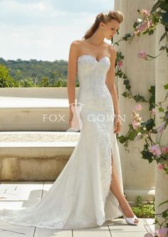 2013 new sexy sweetheart fit and flare beading lace wedding dress with side cut on front