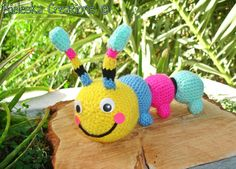 Crochet PDF Pattern- Crochet Colorful Hungry Catterpillar size: 20 cm-8 inches  *Worsted weight yarn and hook size: 3,50mm*  There is no shipping charge