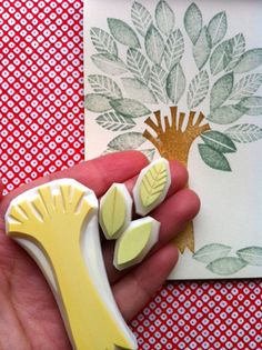 tree- hand carved rubber stamp. set. tree trunk. 3 leaf. handmade. READY TO SHIP. $15.00, via Etsy.