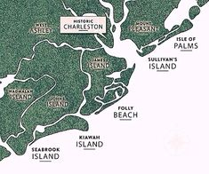 Map of Charleston's Five Beaches: Isle of Palms, Sullivan's Island, Folly Beach, Kiawah Island & Seabrook Island | South Carolina