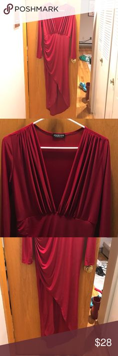 🔴Red Fashion Nova Long Dress, Never Worn! Perfect for holiday parties, never worn, 94% polyester 6% spandex, Size Large, very flattering fit! Fashion Nova Dresses Long Sleeve