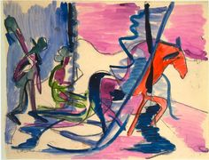 Sledge in the Fog by @artistkirchner #expressionism