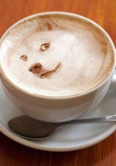 Dog Foam Latte Art - this one is spooky