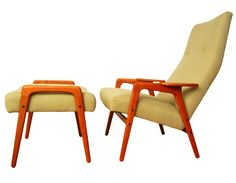 Mid Century Danish modern Lounge chair and ottoman eames