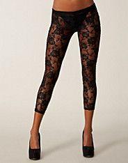 Lace PU Back Leggings - Club L - Black