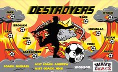 Destroyers B53796  digitally printed vinyl soccer sports team banner. Made in the USA and shipped fast by BannersUSA.  You can easily create a similar banner using our Live Designer where you can manipulate ALL of the elements of ANY template.  You can change colors, add/change/remove text and graphics and resize the elements of your design, making it completely your own creation.