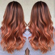 Beautiful Red Copper Ombre Balayage hair