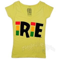 This Cooyah women's yellow v-neck tee features the word IRIE. The letter I is highlighted in Rasta colors.