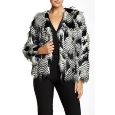 Trina Turk Priscilla Faux Fur Jacket ($130) ❤ liked on Polyvore featuring outerwear, jackets, faux fur jacket, fake fur jacket and long sleeve jacket