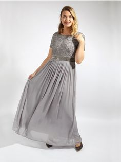 44b833a09d467e Lovedrobe Luxe Light Grey Sequin Embellished Maxi Dress With Pleated Skirt  - Plus Size Plus Size