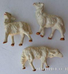 "3 VINTAGE NATIVITY COMPOSITION LAMB / SHEEP CHRISTMAS FIGURES 1 1/2 -2 1/2"" TALL"