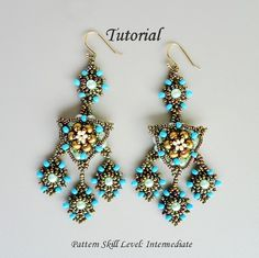 Beading pattern instructions - beadweaving tutorial beaded seed bead jewelry – beadwoven beadwork earrings - ARABIAN NIGHT
