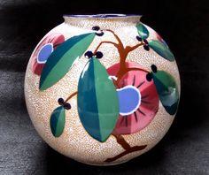 c1930 Czechoslovakia Riessner Amphora Pottery, Large Czech Art Deco Ball Vase