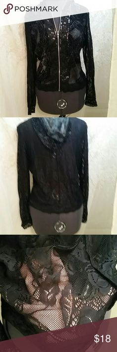 FLASH  SALE SUPER CUTE LACE HOODIE This adorable top is made for layering.  Black sheer lace , zipper closure it has sequins down the front . Very cute with jeans.  Excellent condition Piano  Tops