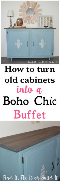 How to epicycle old laundry or kitchen cabinets. Turning cabinets into a buffet, console or side table. DIY furniture.