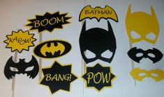 DIY 11 Photo Booth Props Batman Boom Yellow and by CraftyBooth