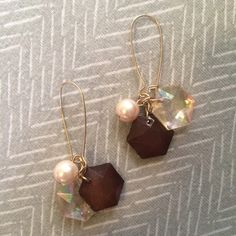 Jumble dangles Gold dangles with clear iridescent beads, clear brown beads, and light pink pearls. Never worn. Jewelry Earrings