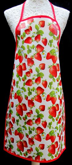 Strawberries APRON / Pinny PVC/OILCLOTH - Lightweight - Wipeclean - Craft - Cooking - Baking, etc by hurdygurdystore on Etsy
