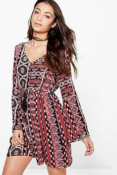 Tall Bryony Tassle Front Paisley Woven Dress