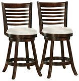 "CorLiving - Woodgrove 38"" Wood Barstools (Set of 2) - Cappuccino/White, DWG-914-B"