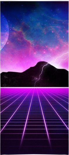 Electric Universe Beach Towel  Clothing 1980's vintage style rad awesome vaporwave Japan Hip Hop Street Style Wear music nostalgia purple pink glow grid time travel sci fi blue moon lightning