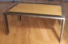 Table basse acier et bambou