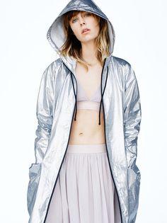 Edie Campbell wears Metallic jacket, tulle bra and skirt stars in Sport Fall 2016 lookbook