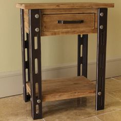 Add a touch of the timeless to your indoor furnishings with the Rustic Forge One-Drawer Side Table , which combines the rustic appearance of iron smithing with the versatility and strength of a Wood Veener and MDF build.