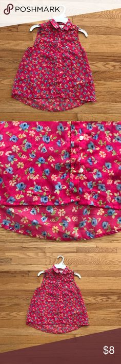 Girls Abercrombie floral blouse Pretty pink poly with blue and yellow flowers. Button down sleeveless. Slight pen mark as shown in pic 2 but it blends in with the pattern. abercrombie kids Shirts & Tops Blouses