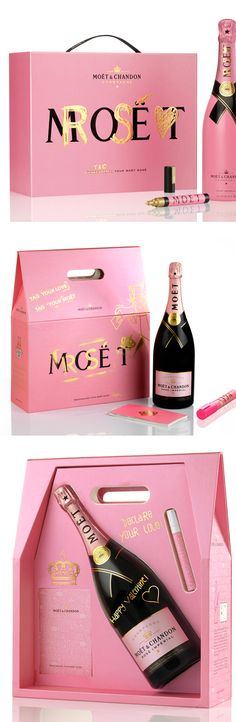 Moet Rose packaging encouraging customers to add their personal touch. Love this champagne and love the idea.
