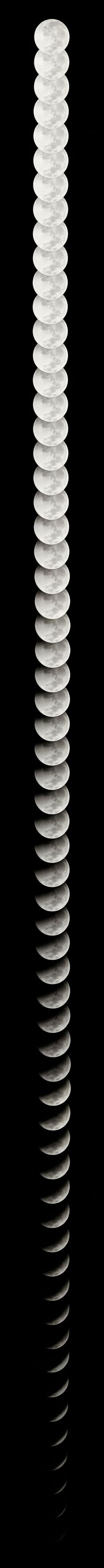 The Moon: 29 days, 12 hours, 43 minutes, 12 seconds. In this magnificent photographic composition, one can appreciate the scene which becomes a lunar month as it travels through space.
