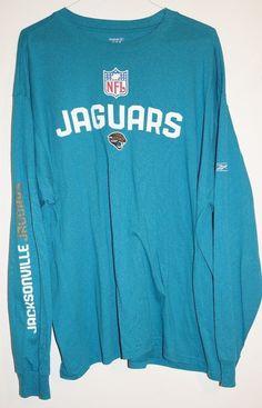 Reebok Jacksonville Jaguar Men's Shirt Size 2XL Teal Sports Football Apparel #Reebok #PullOverTShirt