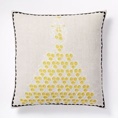 Embroidered Filigree Pillow Cover - Natural   west elm