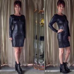 """RESTOCKED 5 STAR RATED BLACK FAUX LEATHER DRESS 5 star rated long sleeve black faux leather dress with back zipper. The dress measures flat 18"""" bust, 15"""" waist, 18"""" hips with a 2 inch stretch allowance. The dress has no pattern to distort so it easily can compensate another 2"""" easily. The dress is a perfect blank canvas to style from & looks great with animal prints.  Please discuss sizing before purchase. Dresses Long Sleeve"""