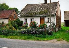 Cottage gardens and houses in Poland