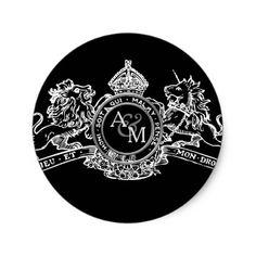 Black White Lion Unicorn Crown Wedding Emblem Classic Round Sticker - white gifts elegant diy gift ideas
